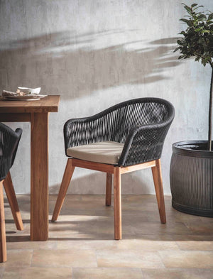 A Pair of Weather Black Rope Dining Chairs PRE ORDER MID JUNE