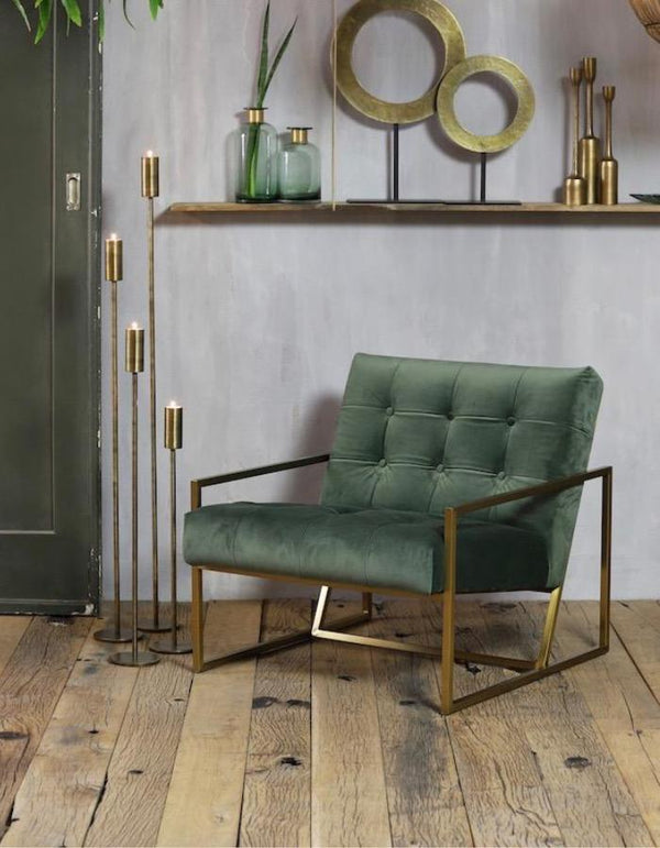 Green Velvet Button Backed Armchair
