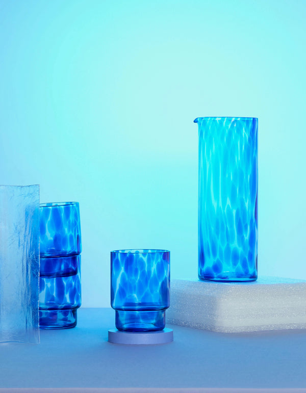 Set Of Four Blue Tortoise Tumblers