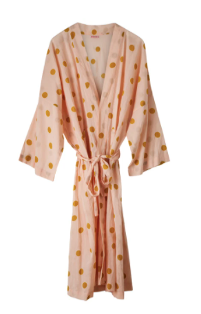 Personalised Coral Spotted Kimono Dressing Gown