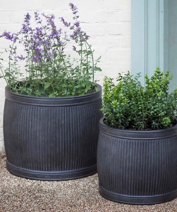 Set Of Two Ribbed Planters