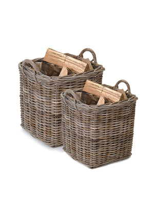 Set of Two Rattan Square Baskets