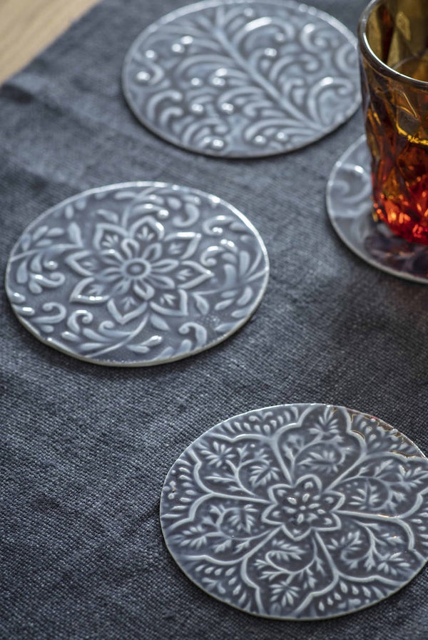 Set of Four Floral Coasters in Blue