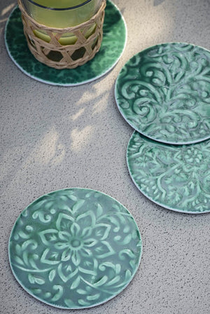 Set Of Four Floral Coasters in Green
