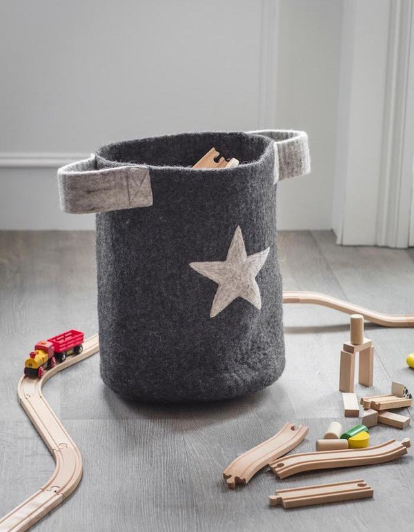 Felt Toy Basket with Star
