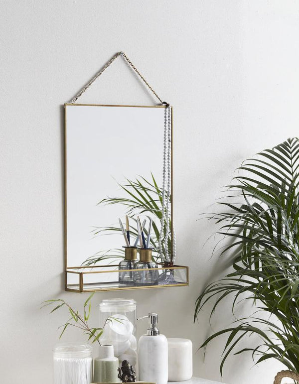 Golden Slim Rectangle Mirror with Glass Shelf PRE ORDER FOR OCTOBER