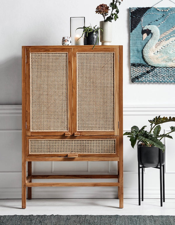 Teak Cabinet with Open Weave webbed front Doors and drawer