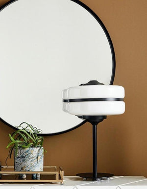 White Glass And Black Iron Table Lamp