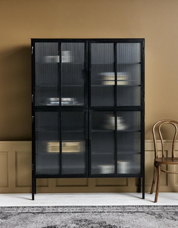 Tall Black Iron Rippled Door Cabinet