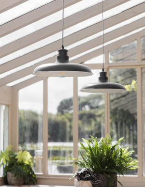 Wide Rimmed Carbon Pendant Light