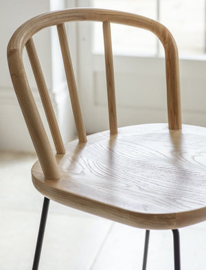 Curved Backed Ash wood Bar Stool