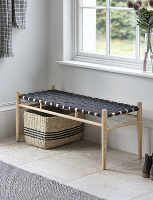 Ash and black woven bench