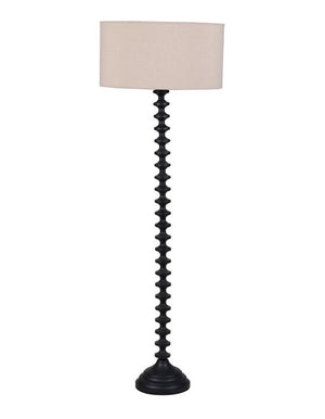Ridged Floor Lamp with Beige Shade