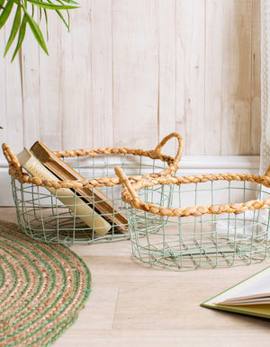 Set Of Two Sage Green Wire Baskets