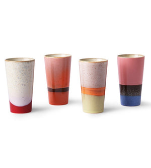 Set Of Six Colourful Glazed Espresso Cups