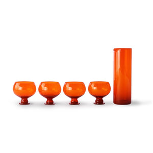 Retro Orange Set Of Four Glasses And Carafe
