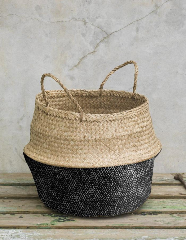 Painted Black Seagrass Basket