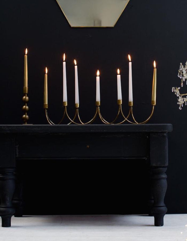 Golden Curved Seven Candle Holder
