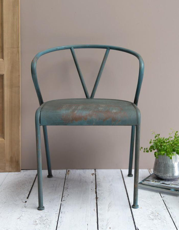Distressed Blue Metal Chair