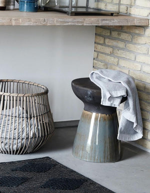 Faience Black Textured Stool. PRE ORDER FEBRUARY