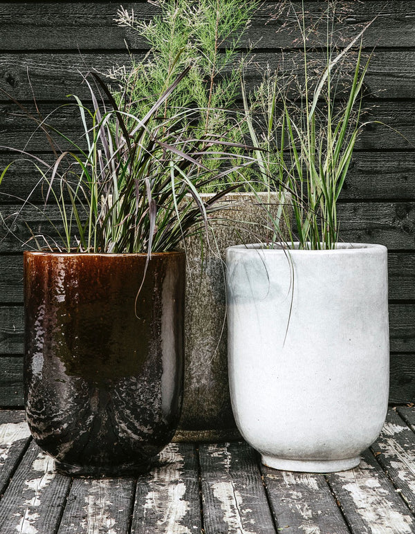 Set of Two Brown Glazed Planters