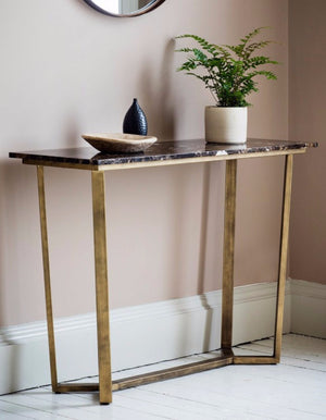 Black Marble And Brass Console Table