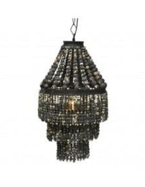 Black Wood Teardrop Chandelier