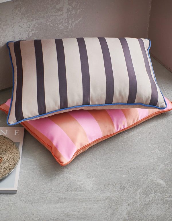 Satin striped cushions