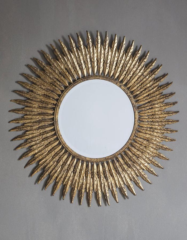 Gold Embossed Feather Wall Mirror