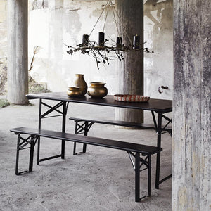 Blackened Table And Bench Set