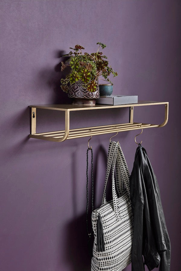 Vintage inspired, gold metal storage shelf