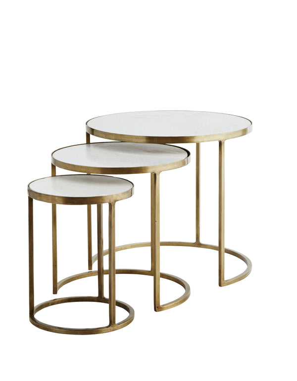 White Marble and Brass Nesting Tables