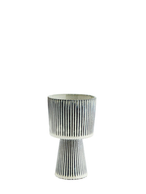 Navy and White Stonewear Striped Flower Pot