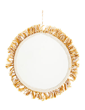 Hanging Mirror with mustard and white Cotton Fringe
