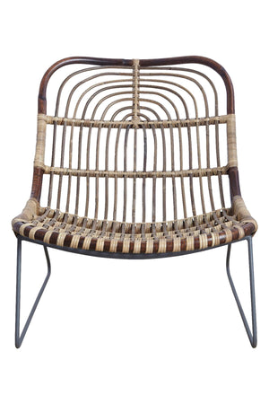 Braided Rattan Low Slung Chair