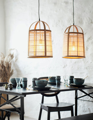 Linen And Bamboo Cage Ceiling Light. PRE ORDER AUGUST