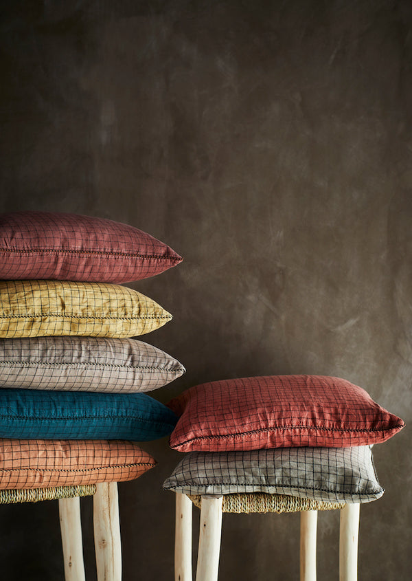 Colourful Checked Linen Cushions. PRE ORDER JULY