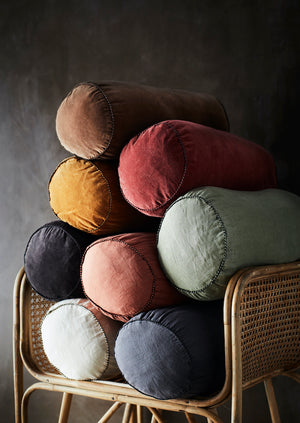 Colourful Velvet And Linen Bolster Cushions