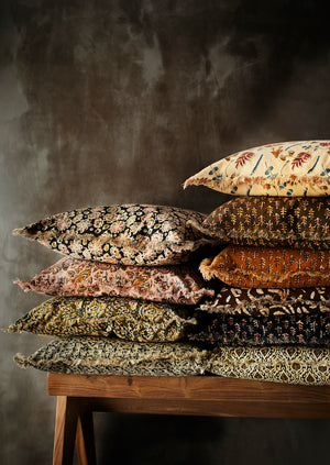 Earthy Block Printed Fringed Cushions PRE ORDER SEPTEMBER