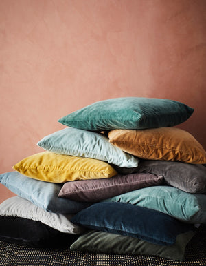 Sumptuous Yellow, Teal or Grey Velvet Cushion