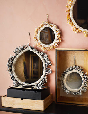 Fringed Cotton Hanging Mirrors