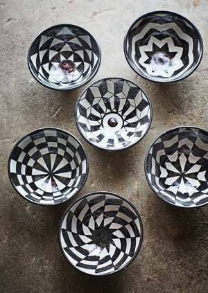 Set of Six Black and White Chequered Bowls. PRE ORDER MARCH