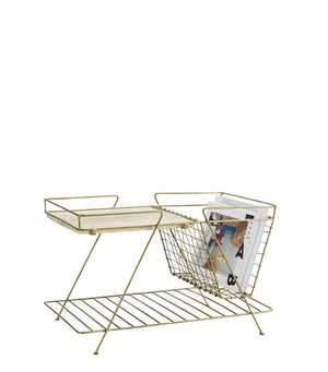 Magazine Rack in Antique Brass and Wood