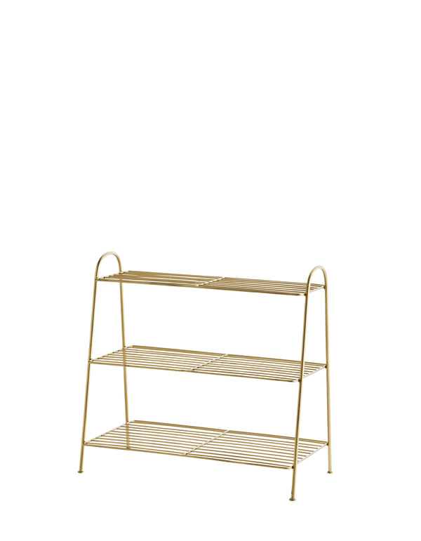 Three Tiered Brass Shoe Rack