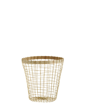 Wire Basket With Jute or Wood Edging