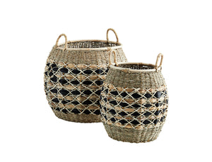 Round Natural and Black Wicker Baskets with Handles