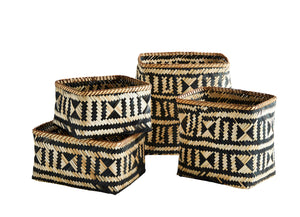 Square Natural and Black Bamboo Baskets