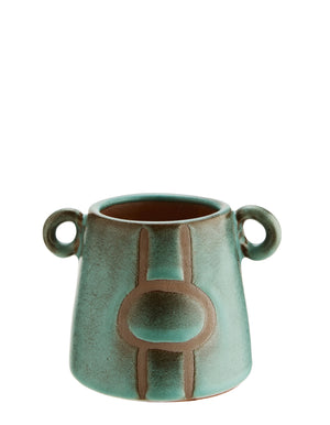 Contemporary Stoneware Vases In Emerald And Black