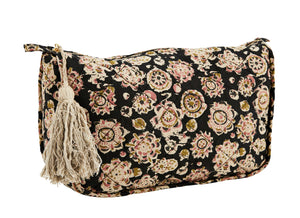 Block Print Floral Toilet Bag with Tassel