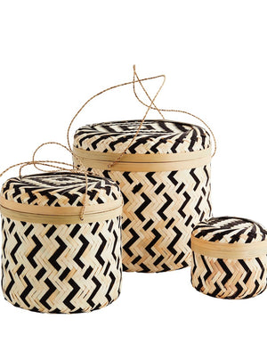 Set of Three Bamboo Baskets with Lid